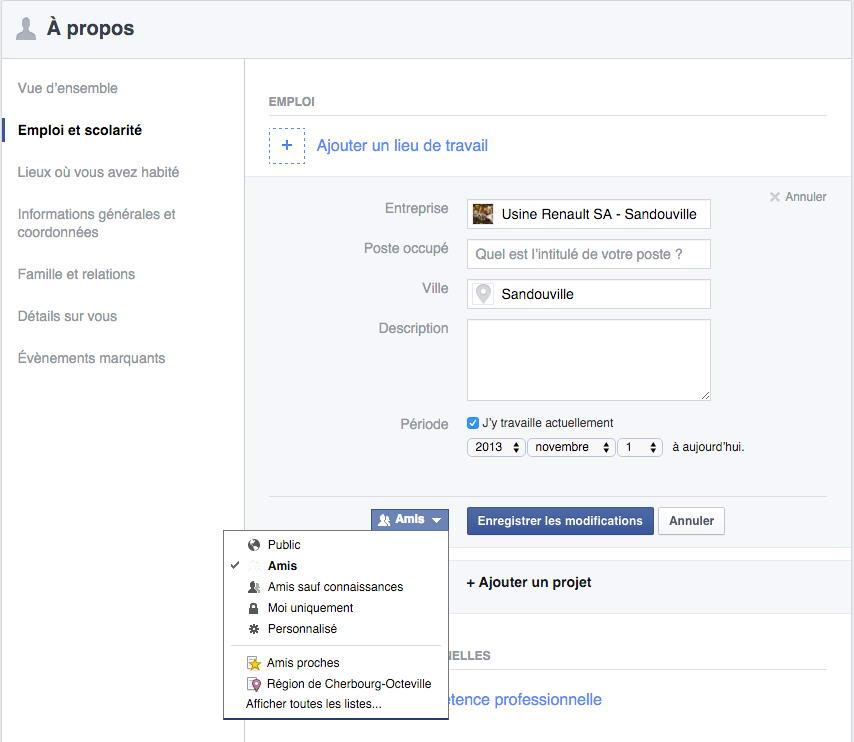 Arnaque à la webcam et section A propos de Facebook