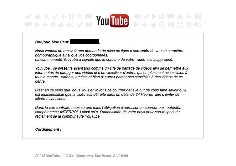 Faux mail Youtube reçu par une victime de chantage à la cam