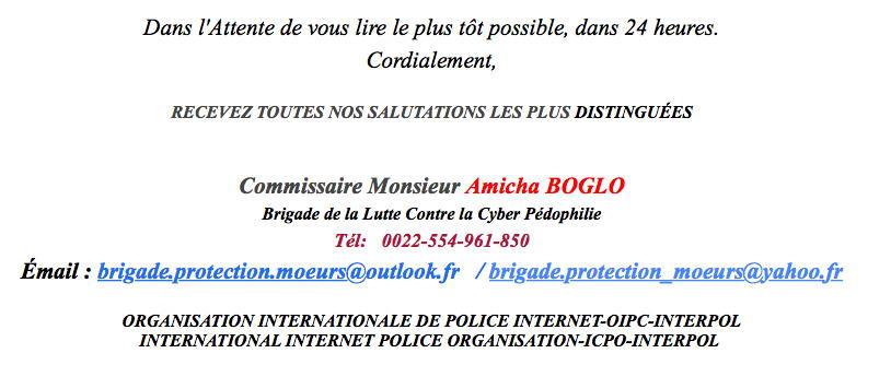 Faux mail d'un commissaire de police