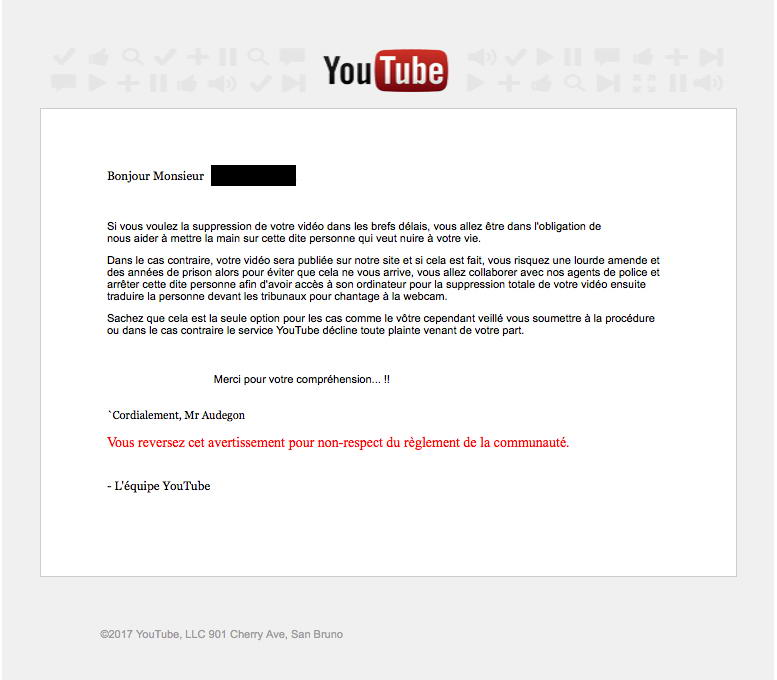 Mail Youtube suite au chantage à la webcam